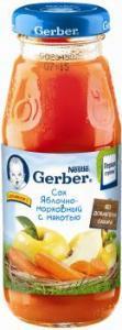 Сок Гербер яблочно-морковный 175 мл