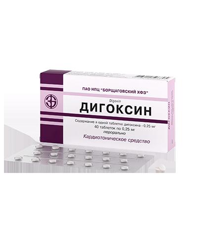 Дигоксин таб. 0,25 мг №40