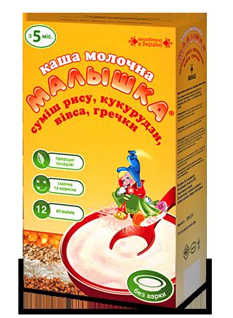 каша Малышка мол смесь рис, кукуруза, овес, гречка 250 г