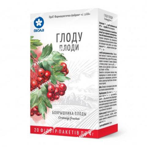 Глоду плоди 4 г в фільтр-пакетах №20