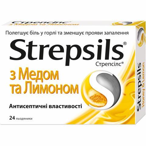 Стрепсилс мед-лимон лед.д/расс-я №24