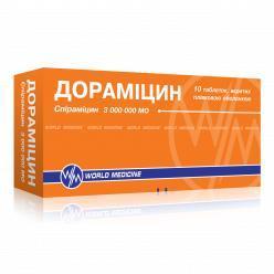 дораміцин таб. п/пл. об. 3 млн МЕ №10 (5х2)