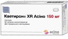 кветирон XR Асино таб. п/пл.об.пролонг.д-вия 150 мг №60