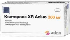 кветирон XR Асино таб. п/пл.об.пролонг.д-вия 300 мг №60