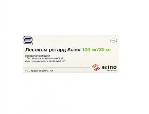 левоком ретард Асіно таб. пролонг. 100 мг/25 мг №100