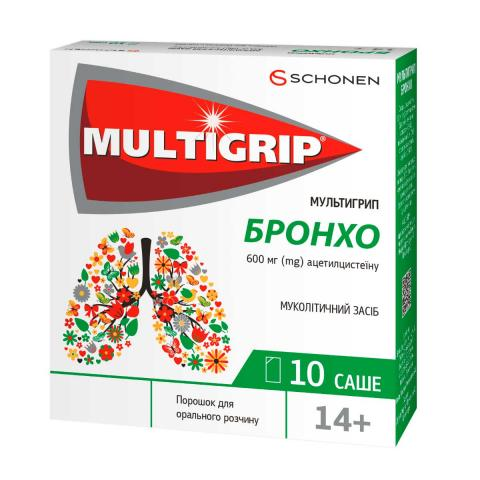 мультигрип бронхо пор. д/орал. р-ра 600 мг саше 3 г №10